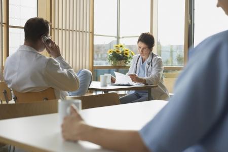 mingle: Doctors on Work Break in Cafeteria