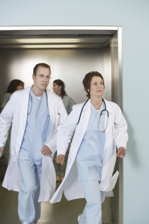 exiting: Physicians Exiting Elevator