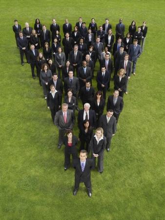 mixed age range: Gran grupo de personas de pie en la formaci�n de tri�ngulo, elevado vista