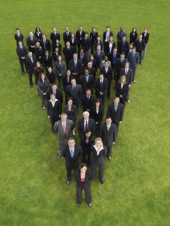 mixed age range: Large group of business people standing in triangle formation, elevated view