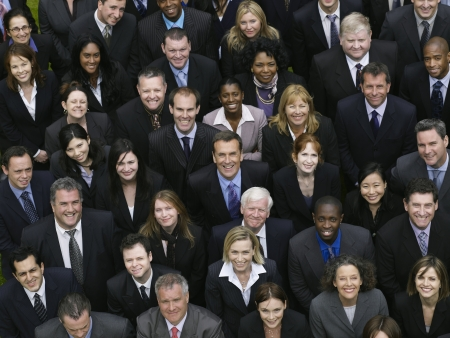 group business: Large group of business people looking up, portrait, elevated view