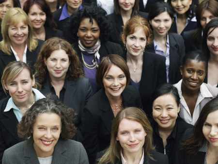 women business: Group of business women looking up, portrait, elevated view, close up LANG_EVOIMAGES
