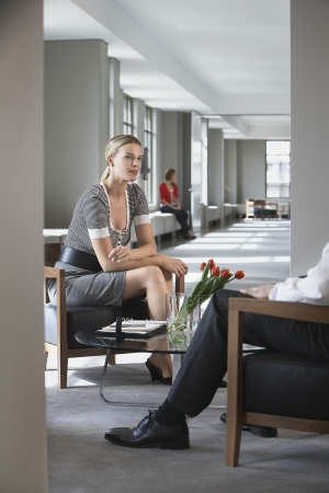two people with others: Businesswoman sitting talking to businessman in office
