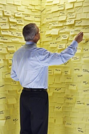 reading material: Middle-aged man standing in front of wall covered in sticky notes reading