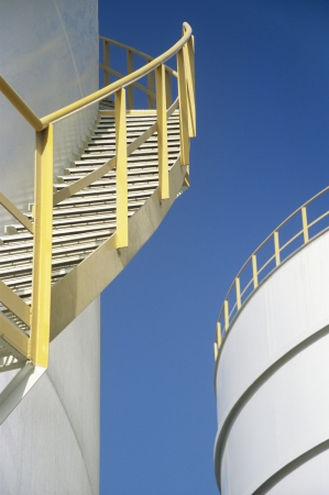 Yellow Stairway on outdoor Storage Tank Stock Photo - 18898178
