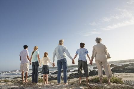 father and son holding hands: Three generation family holding hands on seashore back view LANG_EVOIMAGES