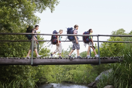 ecotourism: Four teenagers (16-17 years) backpacking in forest crossing wooden bridge side view