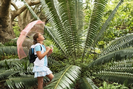 preadolescence: Girl Looking at Large Fern