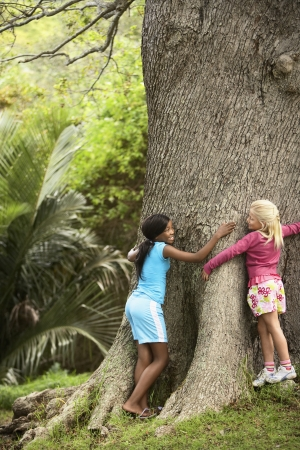 preadolescence: Girls Hugging Large Tree LANG_EVOIMAGES