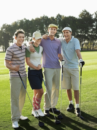 golf glove: Group of young golfers posing on court