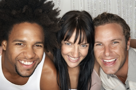 straight man: Group of smiling young people portrait