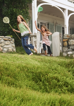 chased: Two Girls Running with Butterfly Nets