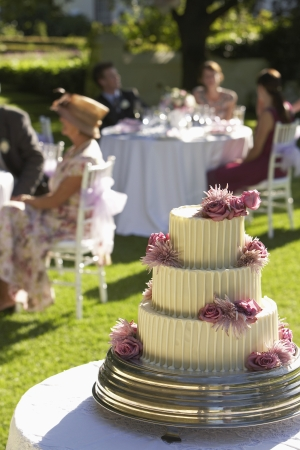 pastel de bodas: Pastel de boda invitados en las mesas en el fondo