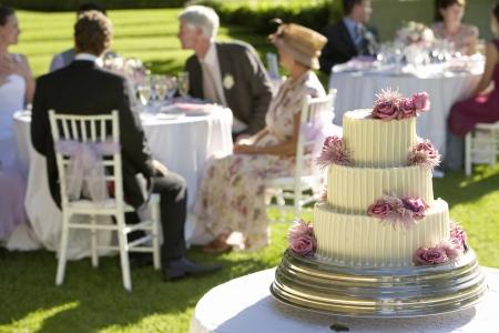 mariage mixte: les clients de g�teau de mariage � des tables en arri�re-plan LANG_EVOIMAGES
