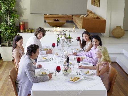 Friends sitting together at Dinner Party drinking and socialising Stock Photo - 19521870