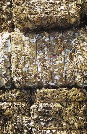 reconstituted: Stacks of crushed recycling LANG_EVOIMAGES