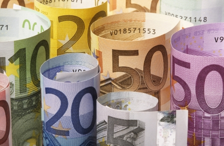rolled up: Rolled up Euro banknotes