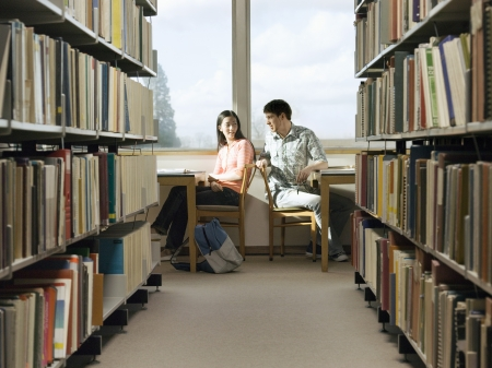 helpfulness: Students Studying in Library LANG_EVOIMAGES