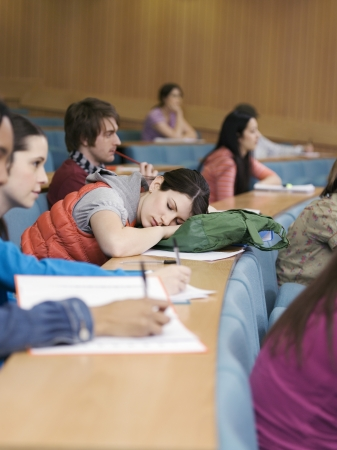 Girl Asleep in Classroom Stock Photo - 19546416