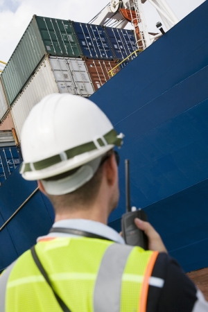labouring: Worker Standing by Cargo Ship