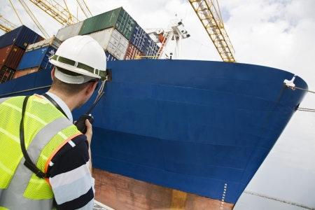 sea port: Worker Standing by Cargo Ship