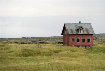 abandoning: Empty House in a Lonely Field