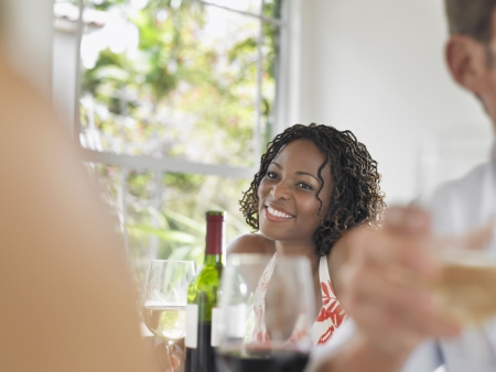 two people with others: Woman Drinking Wine