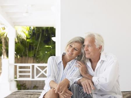 verandah: Senior couple sitting on verandah