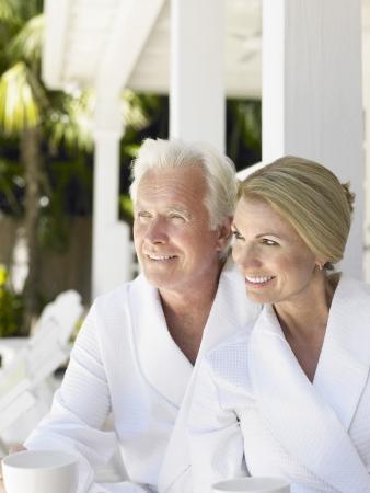 verandah: Couple sitting on verandah portrait