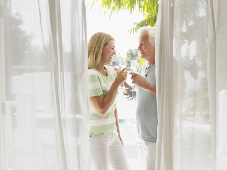 verandah: Couple toasting with champagne flutes standing on verandah side view LANG_EVOIMAGES