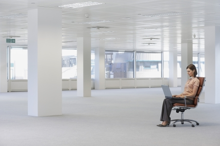 business roles: Businesswoman Using Laptop in Empty Office