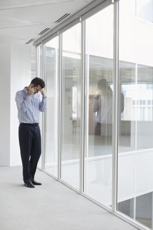 maladies: Businessman on Phone Standing by Windows