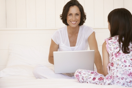 telecommuter: Mother and Daughter in the Morning