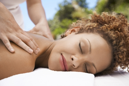 ethnic mixes: Young Woman Getting Massage