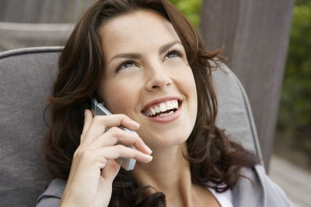 Woman Talking on a Cell Phone Stock Photo