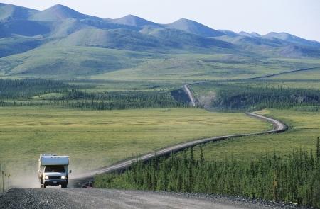 landscape: Camper van on rural road