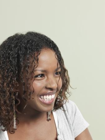 hair blacks: Young woman laughing close-up