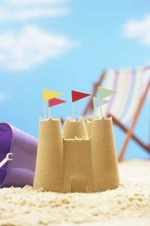 Sand castle on beach LANG_EVOIMAGES