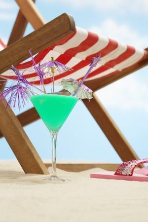 lurid: Coctail next deckchair on beach