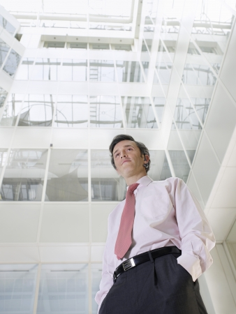 view of an atrium in a building: Business man standing in atrium of office building low angle view LANG_EVOIMAGES