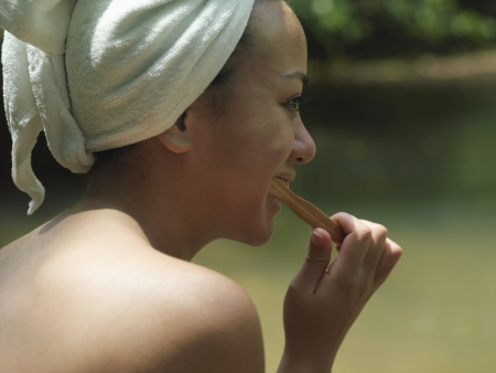towel wrapped: Young woman brushing teeth with towel wrapped on head side view LANG_EVOIMAGES