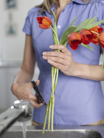 rinsing: Mid-adult woman rinsing and cutting flowers in kitchen sink mid section LANG_EVOIMAGES