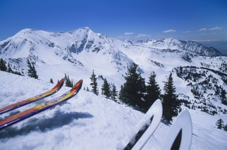 skipiste: Zwei Paar Ski am Rand der Skipiste LANG_EVOIMAGES