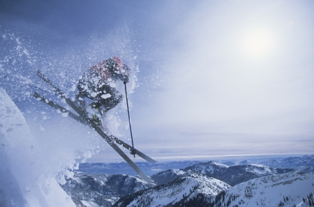 ski jump: Person on skis jumping over slope