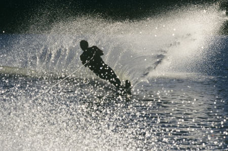 Water skier in action silhouette Stock Photo - 19077783