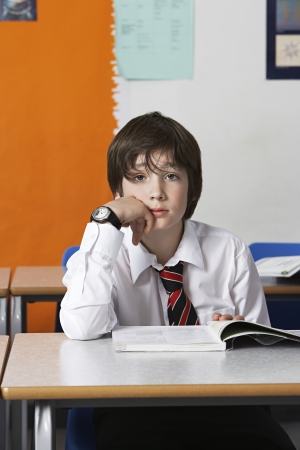 preteen boy: Boy (10-12) wearing shirt and tie in classroom portrait LANG_EVOIMAGES