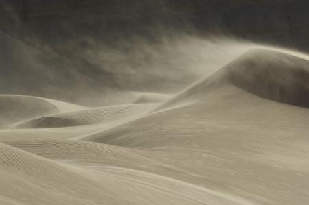 Sand blowing over sand dune in wind Reklamní fotografie