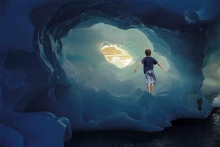 cave house: Boy Standing on Iceberg