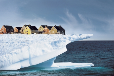 edge of the ice: Houses on Edge of Ice Cliff