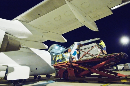 loading cargo: People loading aeroplane at airport